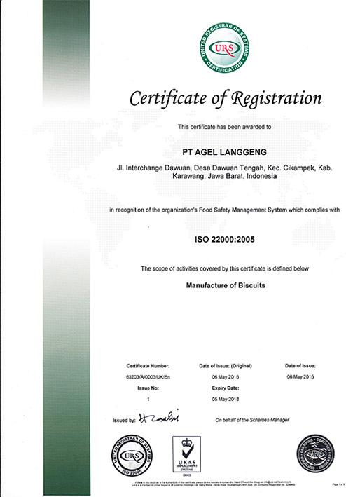 Sertifikat ISO 22000 Dawuan